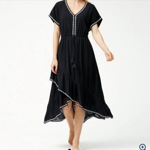 NWT Tommy Bahama Embroidered Tiered Black Dress